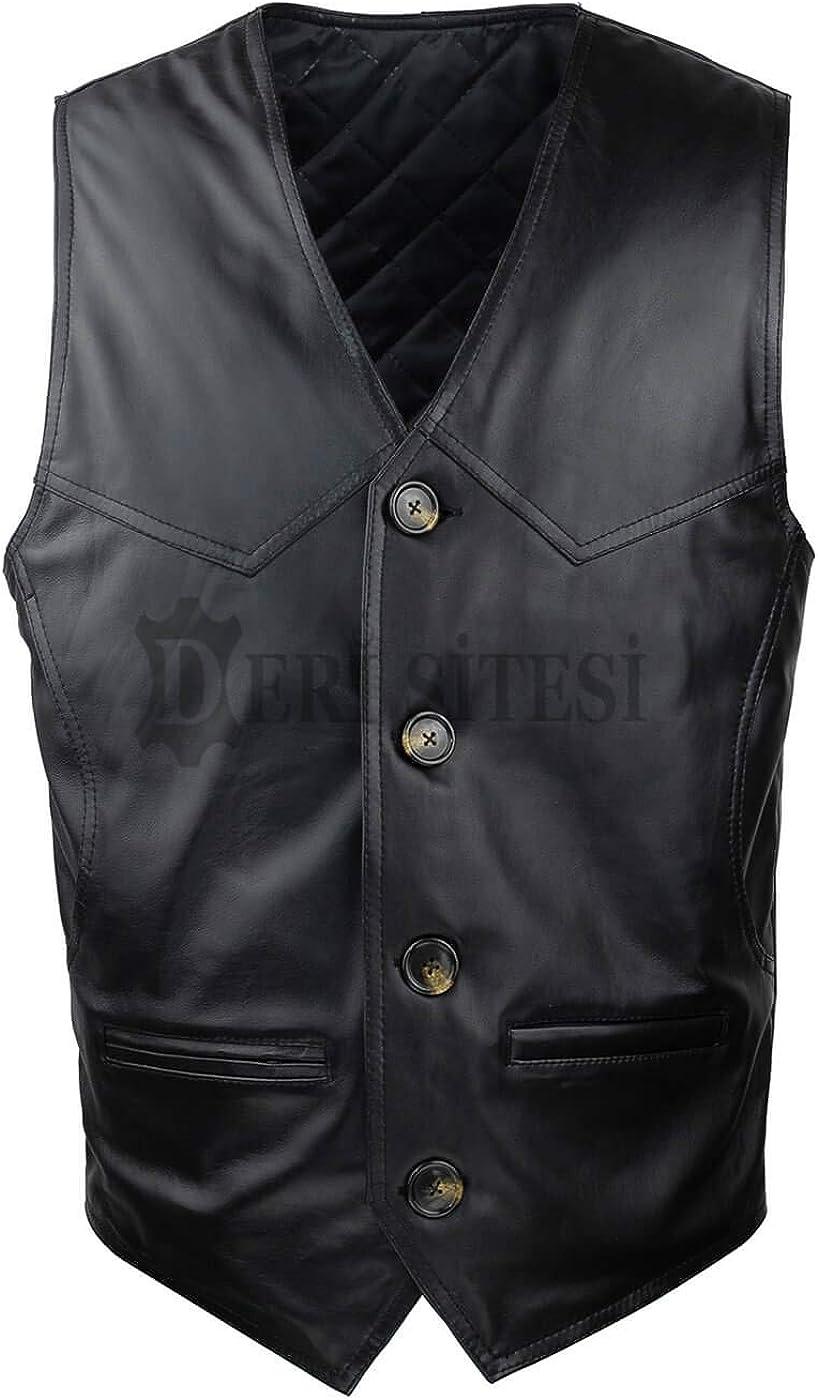 Men's Leather Vest - 100% Lamb Leather Vest, Black Leather Vest, Soft Sheepskin Vest, Genuine Leather Vest