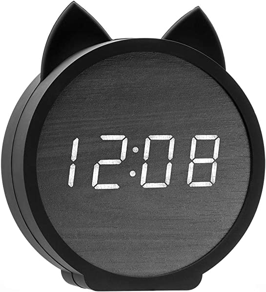 JUSTUP Digital Alarm Clocks For Kids Wooden Desk Clock Large Display Time Temperature USB Battery Powered Snooze Voice Control Table Alarm Clock For Kids Cat