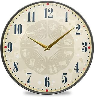 Chovy 掛け時計 サイレント 連続秒針 壁掛け時計 インテリア 置き時計 北欧 おしゃれ かわいい 星座 星座柄 黄色 イエロー クール 個性 おもしろ 部屋装飾 子供部屋 プレゼント