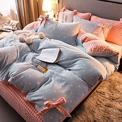 Shinon fleece duvet set super king,Winter padded flannel princess style sheet duvet cover bedding set-N_1.8m bed (4 pieces)