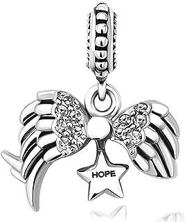 Angel Wings Open Heart Hope Dangle Charm Bead for European Bracelets