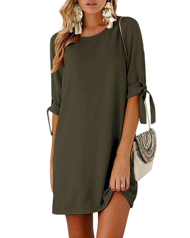 YOINS Mini Dresses for Women Summer T Shirt Solid Crew Neck Tunics Self-tie Half Sleeves Blouse Dresses