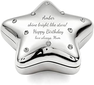 Engraved Silver-Plated Jeweled Make-A-Wish Star Trinket Box, Personalized Keepsake Box for Girls/Boys on 1st Communion, Christening for The Star in Your Life
