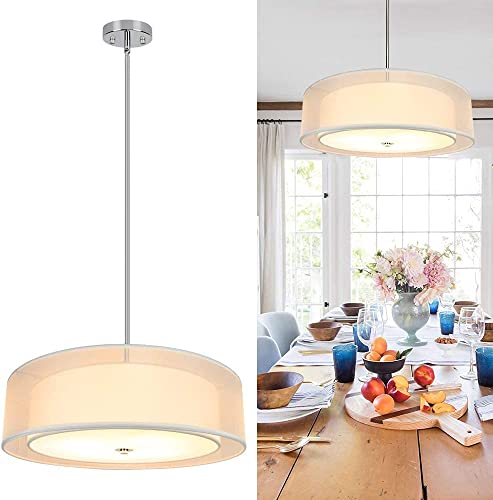 """new arrival Depuley 3-Light Drum Ceiling Light Fixture, 20"""" Double Drum Chandelier with Adjustable Height, Semi Flush Mount Ceiling Hanging Light for Dining 2021 Room, Kitchen, Bedroom, Hallway 2021 Lighting, E26 Base online"""