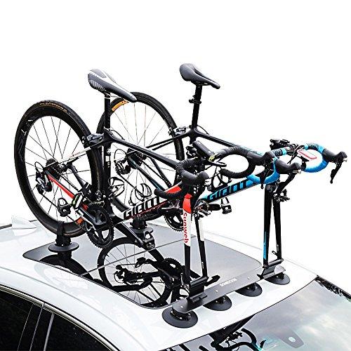 ROCKBROS Portabici Auto a Ventosa Portabici da Tetto Supporto Bici da Tetto per Auto Dotato di Certificato CE (Nero (per 2 Bici))