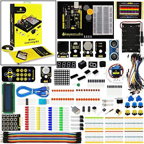 KEYESTUDIO Eléctrica Starter Kit con Guías Tutorial y Conjunto de R3 con LCD Servo Motor de Joystick Receptor de Infrarrojos Ultrasónico, Modulo de Fuente de Alimentación for Arduino UNO