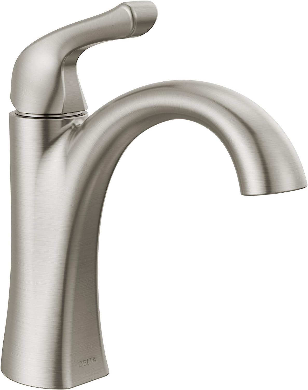 Delta Faucet Arvo Single Hole Bathroom Faucet Brushed Nickel, Single Handle  Bathroom Faucet, Bathroom Sink Faucet, Drain Assembly Included, SpotShield  ...