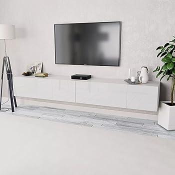 Tidyard 2xMesas para TV Mueble TV Salón Mesa Televisión Mueble Comedor Televisor Bajo de Estilo de Moderno PVC 120x40x34cm Blanco: Amazon.es: Hogar