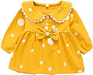 Xifamniy Infant Girls Skirt Cartoon Dot Print Sweet Lace Doll Collar Baby Bow Dress Yellow