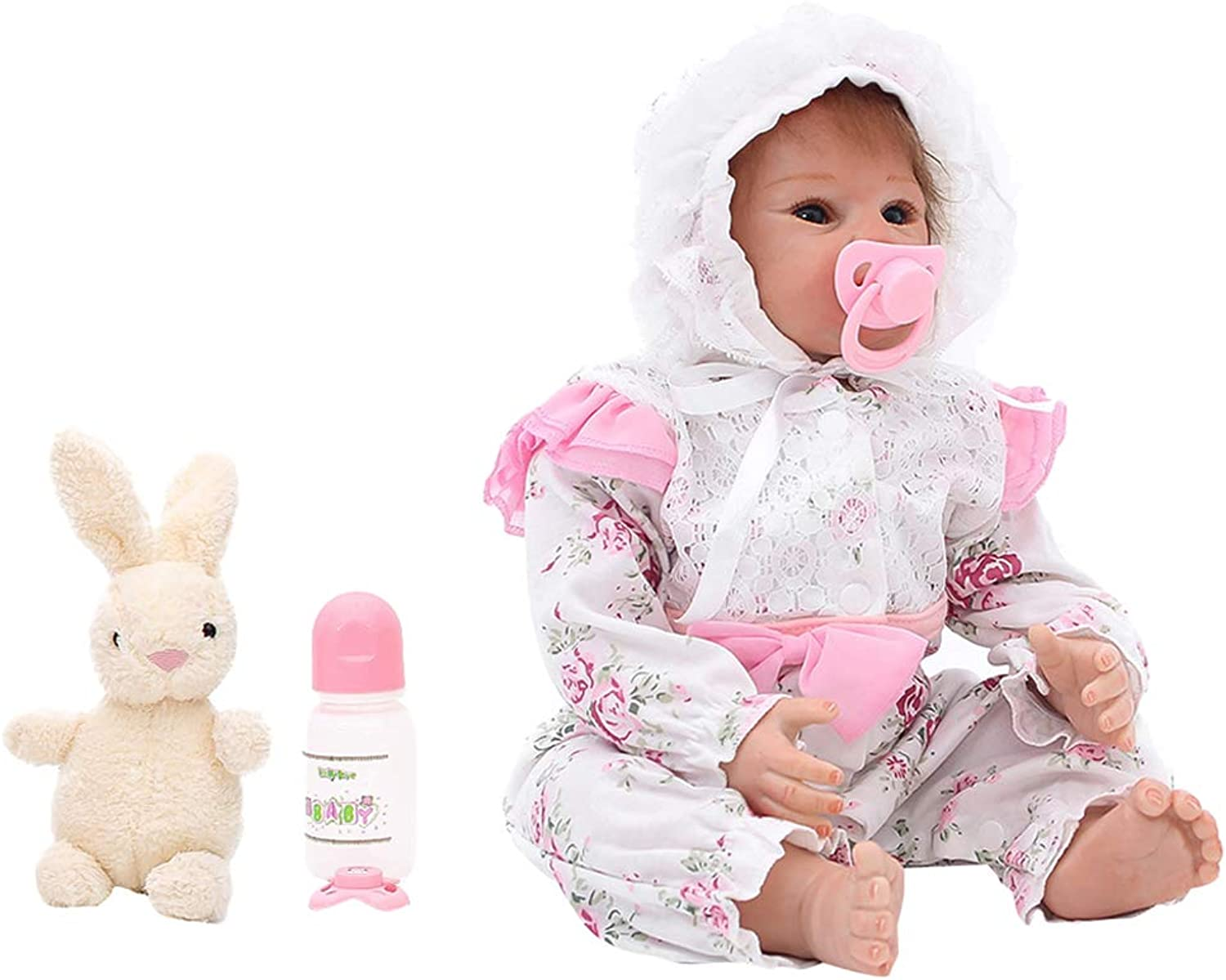 Prettyia 50cm Full Body Soft Vinyl Reborn Newborn Girl Dolls with Floral Clothes Set and Supplies