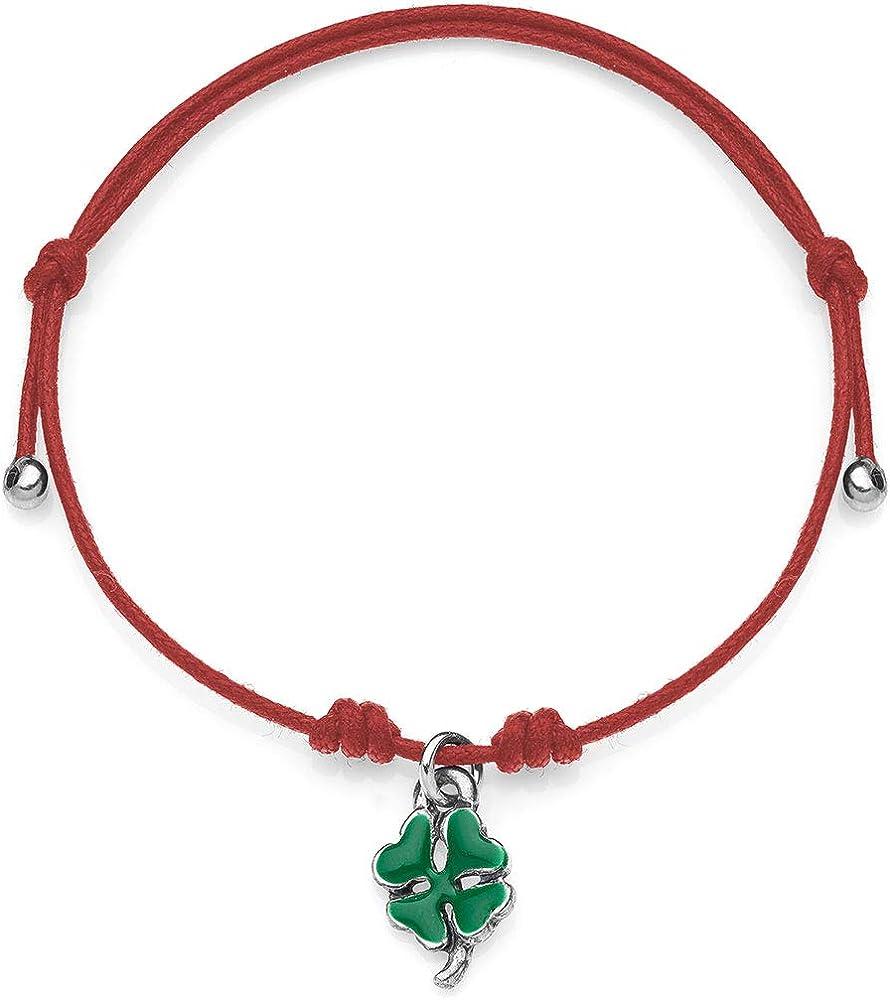 Dop gioielli,bracciale per donna, in cotone cerato con charm a forma di quadrifoglio BRMIN002
