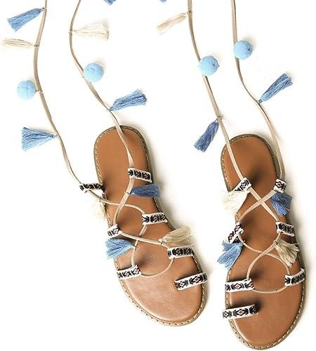 GTYW Les Vacances D'été D'été Sandales Plates Romaine Sauvage Laçage Pliant Bohemia College Wind Fringe Femmes Chaussures  présentant toutes les dernières mode de la rue haute