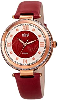 Burgi BUR202 Women's Watch - Baguette Crystal Studded Bezel - GuillocheDial with Genuine Diamond Markers - Genuine Leather Skinny Strap