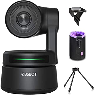 OBSBOT Tiny AI-Powered PTZ Webcam, AI Tracking W Auto-Frame AI Auto-Exposure Gesture Control Audio Support Software Suppor...