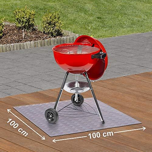 Paderbest24 Bodenschutzmatte Grillunterlage Grillschutzmatte TRANSPARENT mit Riffelblechoptik 100x100cm