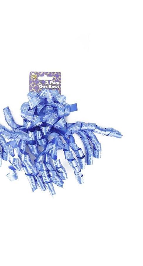 Set of 2 Blue and White Star of David Decorative Hanukkah Gift Bows 8