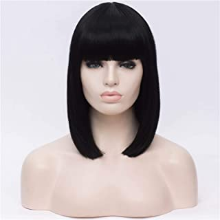 Hairpieces Synthetic 14 Inch Black Straight Short Wigs with Bangs Blue Golden Red Green White Purple Brown Cosplay Wig Fem...