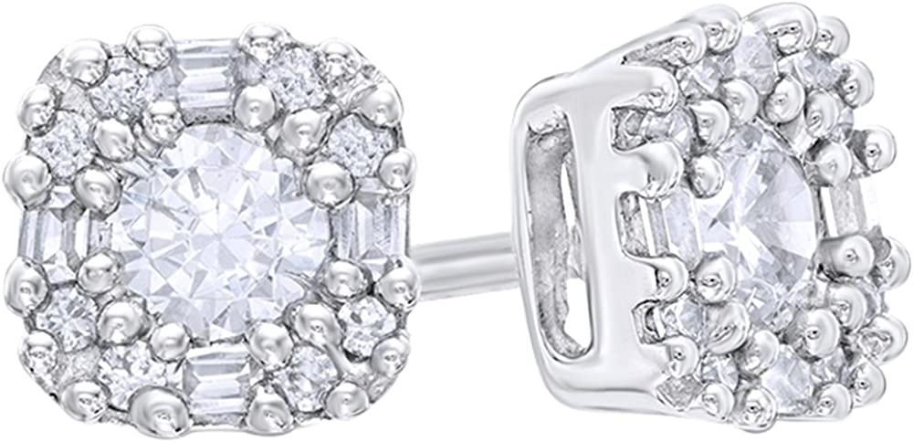 White Natural Diamond Free Shipping New Art Deco-Inspired in 1 Frame Stud Ranking TOP9 Earrings