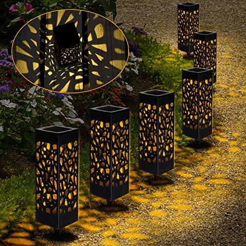 【6 Stück 】Solarleuchten Garten Warmweiß, Solar Gartenleuchte Wasserdichte, LED Wegbeleuchtung Solarlampen für Außen Garten Patio Rasen Terrasse Fahrstraßen