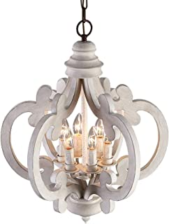 Lovedima Rustic Vintage Iron Wooden Chandelier 6-Light Candle Hanging Ceiling Light in Distressed White