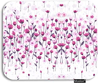 Moslion Tulip Mouse Pad Vintage Watercolor Flowers Tulip for Love Lotus Leaves Floral Painting Gaming Mouse Pad Rubber Large Mousepad for Computer Desk Laptop Office Work 7.9x9.5 Inch Pink White