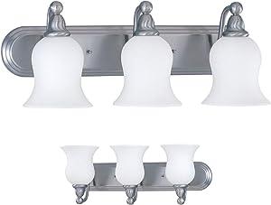 Three Globe Bathroom Vanity Light Bar Bath Fixture Alabaster Glass, Nickel