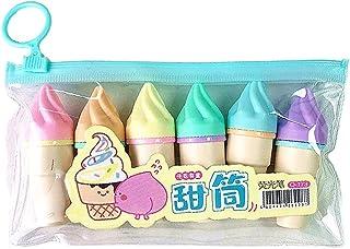 bfh 6pcs Mini Stylo Surligneur Mignon, Stylos Marqueurs Fluorescents en Forme De Crème Glacée Kawaii