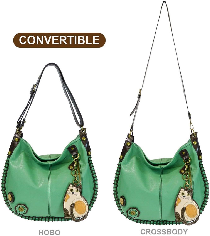 Chala Handbag Charming Hobo Large Tote Bag LAZZY CAT Teal Vegan Leather Congreenible Strap