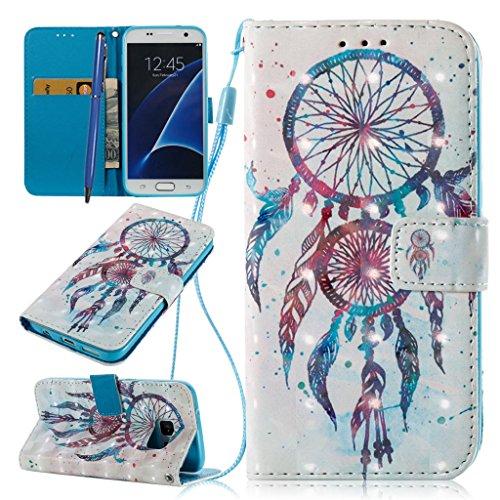 Careynoce Portemonnee 3D Emboss Lederen Hoesje voor Samsung Galaxy S7 Portemonneehouder M05