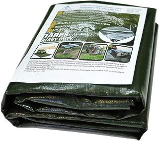 Alion Home Heavy Duty 12 Mil Poly Tarps Waterproof Covers for Tarpaulin Canopy, Camping, Carport, Boat, Furniture, Floors, RV, Pool or Roof Repair Items (12x16 ft, Dark Green)