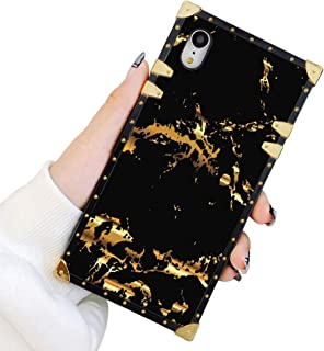 Best Square Case Compatible iPhone XR Gold Black Marble Luxury Elegant Soft TPU Shockproof Protective Metal Decoration Corner Back Cover Case iPhone XR Case 6.1 Inch Review