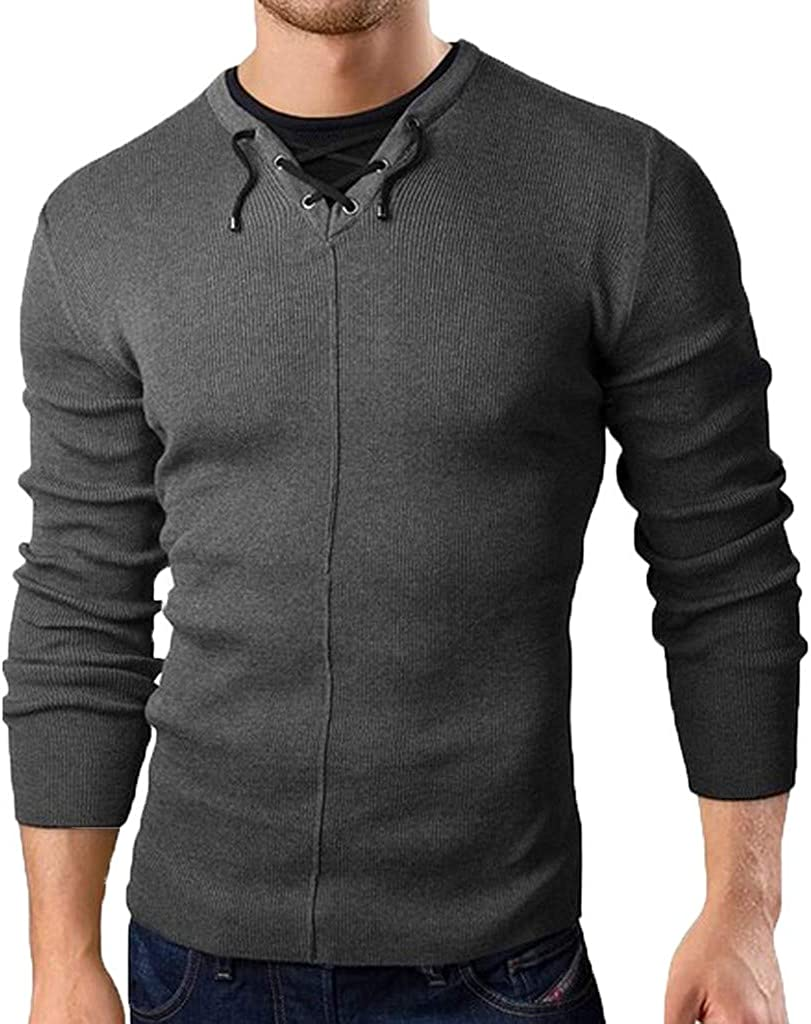 Uqiangy Mens Stylish Lace Up V-Neck Collar Patchwork Fake Two-Piece Solid Knitted Pullover Sweater