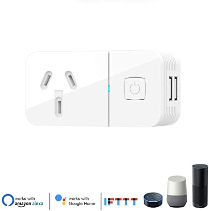 2USB Port Wifi Smart Socket Outlet Plug Enabled Electrical Power Switch App Control From Anywhere Remote Control Outlet with Timing Function Compatible with Amazon Alexa ECHO and Google Home IFTTT