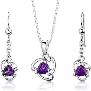 Best sterling silver amethyst necklace earrings set Reviews
