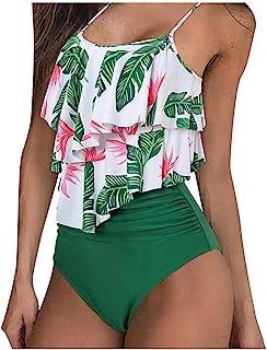 riou Bikini, Bikinis Mujer 2020 Push Up riou Mujeres Cintura Alta con Volantes Sexy Trajes de baño Correas de Espagueti de 2 Piezas Tankini Bathing Estampado Dividido BañAdores