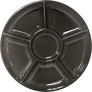 """Party Essentials Hard Plastic Round Divided Serving Tray, 1-Count, 12"""", 6-Section, Black"""