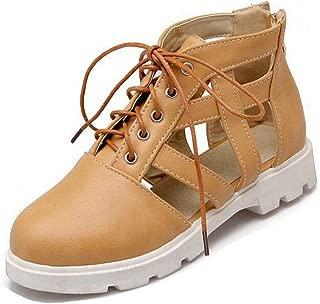Bonrise Women's Flat Low Heel Sandals Close Toe Platform Caged Lace Up Zipper Gladiator Dress Sandals Shoes