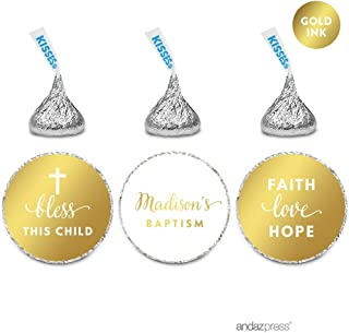 Andaz Press Personalized Chocolate Drop Labels Trio, Metallic Gold Ink, Baptism, 216-Pack, Fits Hershey's Kisses, Custom Made Any Name, Not Gold Foil, Decor Decorations Stationery