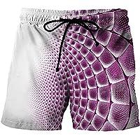 CKKHYCD 白と紫のグラデーションスケール3Dショーツメンズ子供用水着カップルビーチパンツサーフィンパンツ