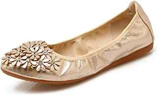 Fnnetiana Women Wedding Flats Foldable Sparkly Slip On Ballet Flats Shoes