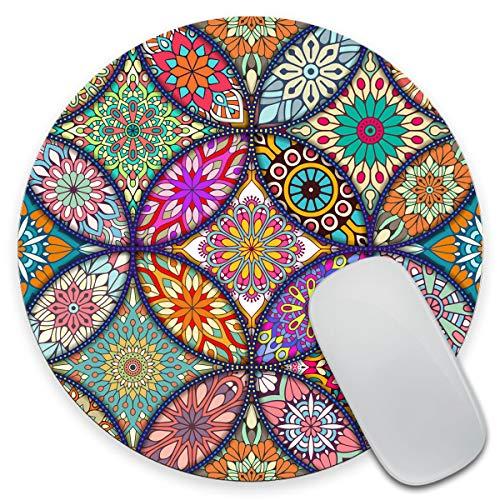 Amcove Vintage Decorative Elements Mouse Pad,Round Mandala Mouse Mat, Cute Mouse Pad with Design, Non-Slip Rubber Mousepad, Office Mouse Pad,Mandala Colour