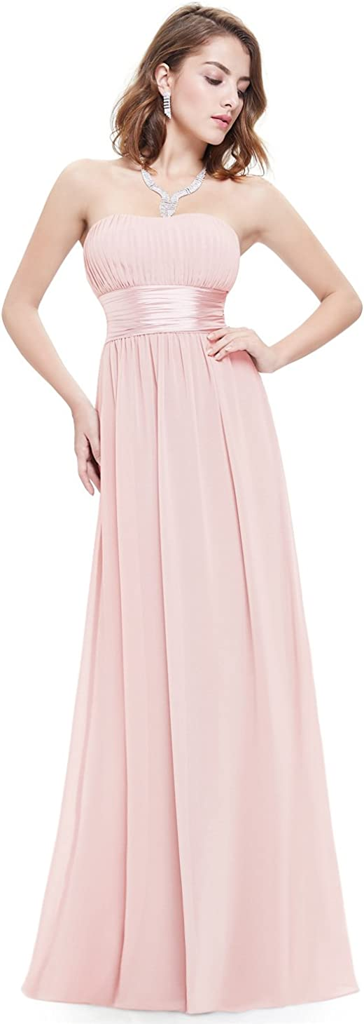 Ever-Pretty Women's Strapless Ruched Bust Max 74% OFF mart Long Chiffon Sexy Even