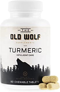 Turmeric Curcumin Joint Supplement for Dogs: Pain Relief & Anti Inflammatory Support with Glucosamine, Chondroitin Porcine, MSM, Hyaluronic Acid, Piperine & Turmeric Root Blend - 90 Chewable Tablets