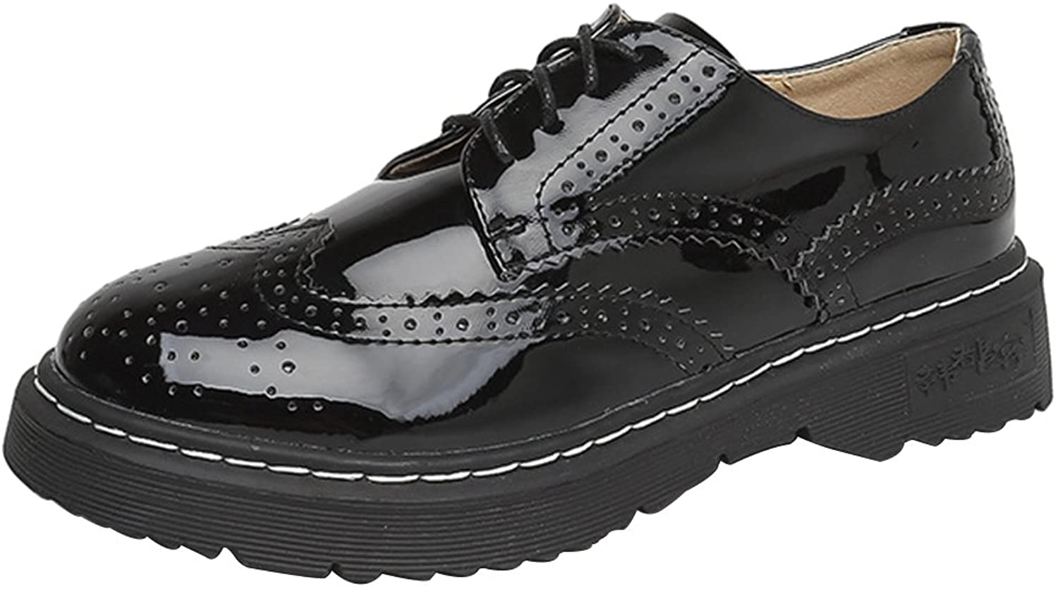 Sekesin Oxfords shoes Bullock Wingtips Patent Leather shoes Lace-Up Flats Round Toe