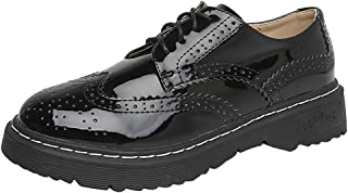 [sekesin] リボン おじ靴 レディース エナメル オックスフォードシューズ レースアップシューズ 厚底 レザー 大きいサイズ