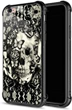 iPhone 6s Plus Case, Victorian Gothic lace Skull iPhone 6 Plus Cases, Tempered Glass Back+Soft Silicone TPU Shock Protective Case for Apple iPhone 6/6s Plus