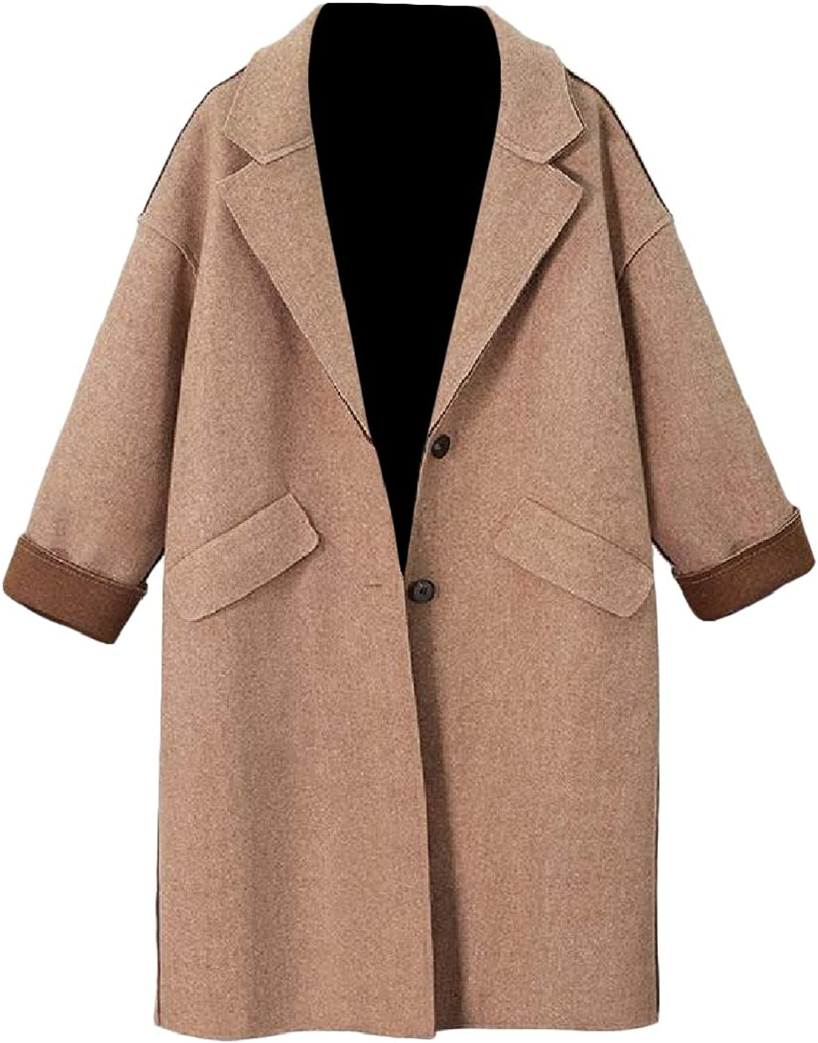 FieerWomen Fall Winter WoolBlend Thicken Lapel PlusSize Long Dust Coat