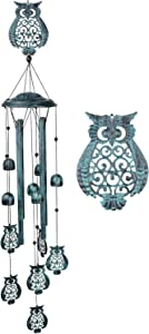 Gbateri Owl Wind Chimes Outdoor Bell, Mobile Wind Chimes Retro Garden Hanging Wind Chimes Deep Tone Memorial Wind Chimes Soothing Wind Chime Sympathy Windchimes for Garden Outside Decor(Bronze Blue)