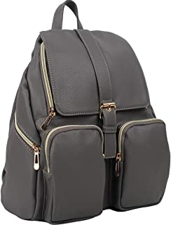 Copi Women's Artificial Leather Backpack Casual Daypack for Ladies Gray
