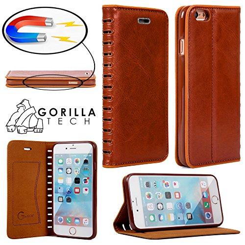 Custodia a Portafoglio in Pelle Vintage per iPhone 5 e 5s Plus + Vetro Gorilla Cover a Portafoglio Marrone